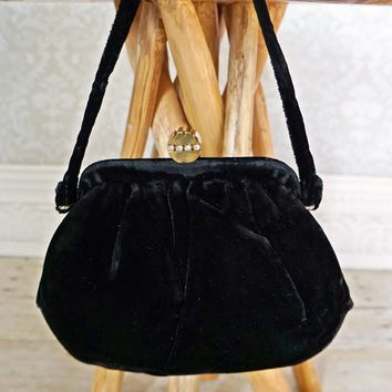 Vintage 1960s Ink Black Velvet + Opera Bag