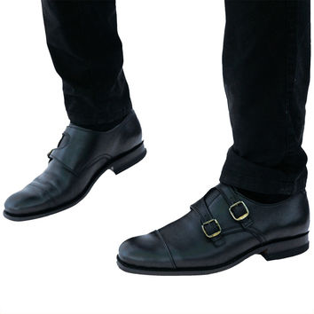 Double Monk Strap Leather Shoe