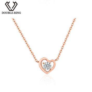 DOUBLE-R Genuine 18 K Gold Pendants Women 0.10ct Real Diamond Necklaces Ladies Engagement Fine Heart Jewelry CASN01023KA-3