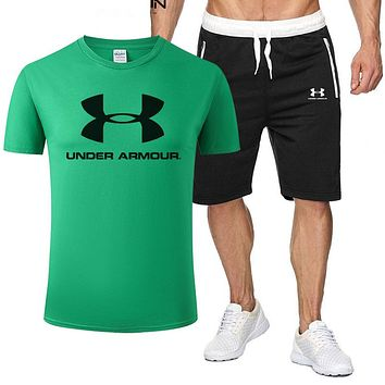 Under Armour Fashion Men Casual Print Short Sleeve T-Shirt Top Shorts Set Two-Piece Sportswear Green