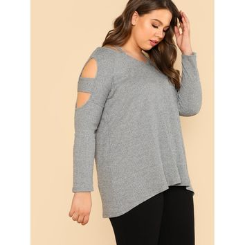 Cut Out Sleeve Ribbed Knit Top GREY