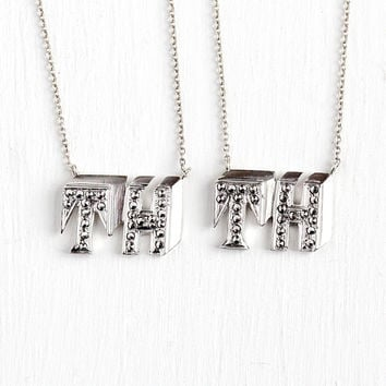 Vintage TH Necklace - Art Deco Sterling Silver Monogrammed Cufflink Conversion Pendant - 1930s Marcasite Monogrammed Personalized Jewelry