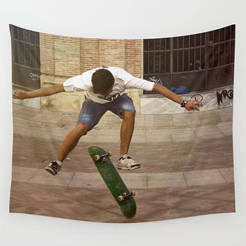 Skateboard tapestry, orange decor, brown decor, teenager decor, college room, teenage bedroom, oversized art, outdoor tapestry, skater boy