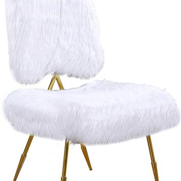 Magnolia White Fur Accent Chair