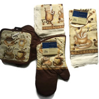 Coffee Latte 6 Piece Set Kitchen Linens Oven Mitt Towel Scrubber Pot Holders