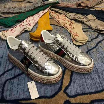 Gucci Crystal Diamond Muffin Thick Base Sliver Women Casual Shoes Sneaker