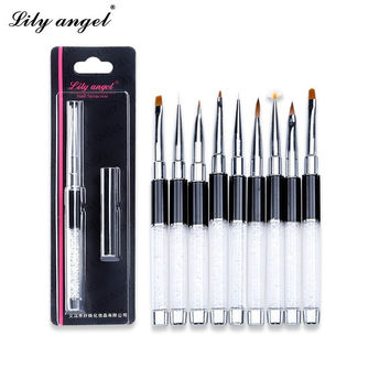 Lily angel Nail Brushes Flat Builder Nail Art Pen Brush Dotting Tool Crystal Carvings Nails Drawing Painting Manicure Tool Z