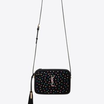 lou camera bag in black suede and multicolored crystals