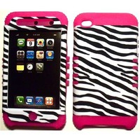Cell Armor White Black Zebra on Silicone Skin for Apple ipod Touch iTouch 4G 4 Hybrid 2 in 1 Rubber Cover Hard Case-Pink