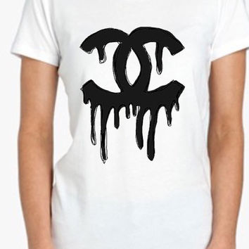 Dripping Chanel Tshirt Screenprinted Apparel Brandy Melville Inspired Design Clothing Unisex Adults Women Tees