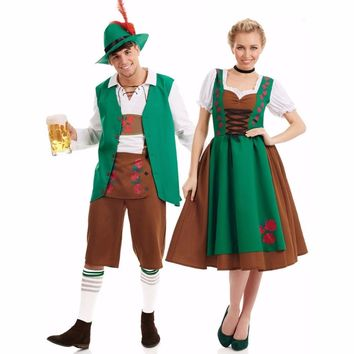 Umorden Bavarian Oktoberfest Costume Men Women German Beer Maid Waiter Costumes Fantasia Cosplay Dress Outfit for Couple