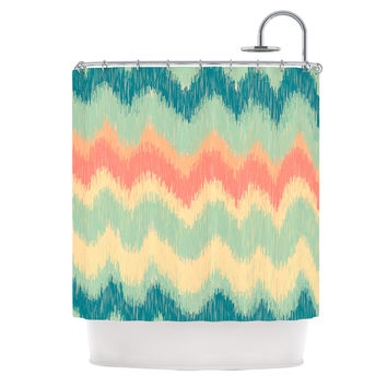 "Nika Martinez ""Ikat Chevron II"" Teal Shower Curtain"