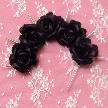 Black Dahlia-Pastel Goth WITH 5  Black Roses and Silver Spikes flower crown