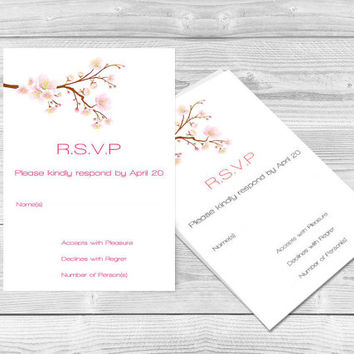 Cherry Blossom Wedding Response Card Template - Editable PDF Template - 5x3.5 Printable RSVP Card - Instant Download - DIY You Print