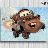 Tow Mater disney cars poster nursery wall art baby boy gifts