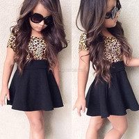 Fashion Children Kids Girl's Leopard Patchwork Short Sleeve High Waist Casual Pleated Mini Dress D_L