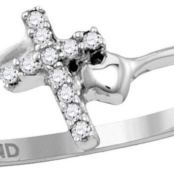 Sterling Silver Womens Round Diamond Delicate Slender Cross Faith Ring 1/20 Cttw