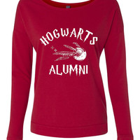 Hogwarts Alumni Longsleeve. Funny Shirt Great Gift Ideas. Next Level Ladies Long Sleeve Scoopneck TShirt 6931