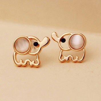 Women Men Rose Gold Elephant Stud Earrings White Pink Rinestone Cat Eye Stone Fashion Jewelry Accessories Pendientes