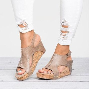4a7d5898f456 US Womens Leather Ankle Strap Peep Toe Sandals Summer Platform W