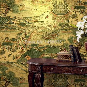 Classical Chinese Painting Gold Leaf Wallpaper The Living Room TV Backdrop Hotel Restaurant Entertainment Den Wall Decoration