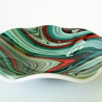 fused glass bowl turquoise orange brown swirl fused glass dish fruit bowl - Decorative Glass Bowls
