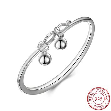925 Sterling Silver Bracelet with Two Ball Pendants