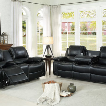 Home Elegance 8334BLK-2pc 2 pc Oriole black leather airehyde match double reclining sofa and love seat set