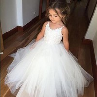 white Flower Girl Princess Dress Kid Party Pageant Wedding Bridesmaid Tutu Dresses