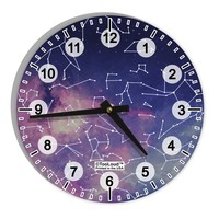 "Constellations Color All Over 8"" Round Wall Clock with Numbers All Over Print"