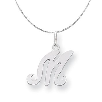 Sterling Silver, Sophia Collection, Small Script Initial M Necklace