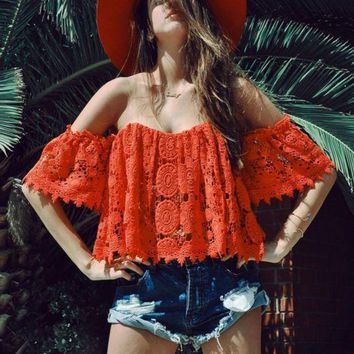 LMFON SEXY RED OFF SHOULDER RED LACE TOP SHIRT