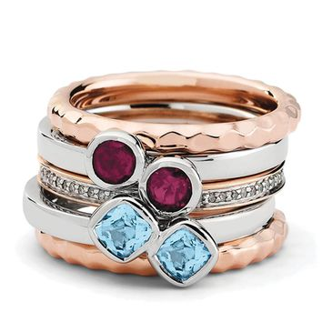Sterling Silver & 14K Rose Plated Deluxe Gemstone Stackable Ring Set
