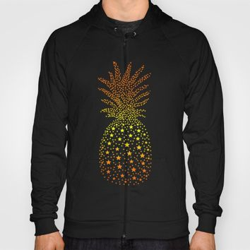 Golden Pineapple Stars Hoody by ES Creative Designs