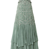 Strapless Hand Pleated Chiffon Gown With Antique Silver Beading by Bibhu Mohapatra - Moda Operandi