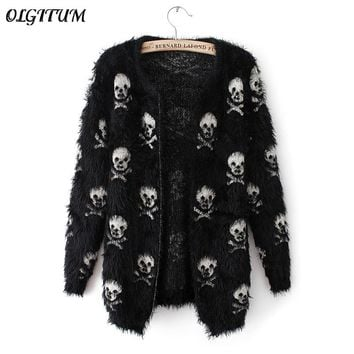 Sweater knit wool sweater skull head fashion cardigan loose sweater coat