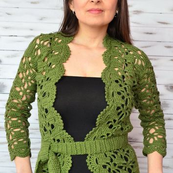 Lace cardigan, crochet jacket, green crochet cardigan, Cotton lace cardigan, Elegant crochet cardigan