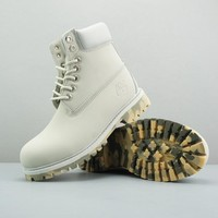Timberland Leather Lace-Up Boot High White Camo Sole - Best Deal Online
