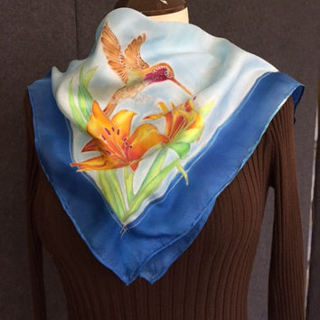Tiger Lily - Hand Painted Silk Scarf