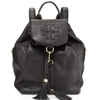 Thea Drawstring Leather Backpack, Black - Tory Burch