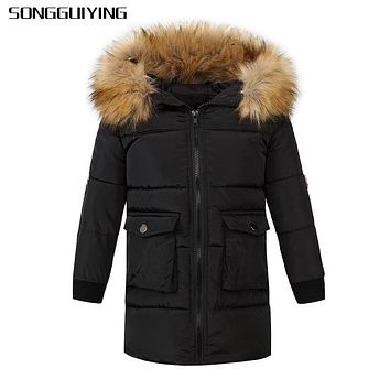 SONGGUIYING A149 Hooded Boys Kids Winter Down Coats Long Sleeve Warm Jacket Windproof Children Jackets 3 to 14 Years Outwear