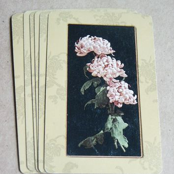 Vintage Pink Flower Playing Cards--Set of 10