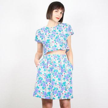Vintage 80s Crop Top Mini Skirt Outfit Two Piece Set Matching Set 2 Piece White Blue Purple Floral Print Cropped Shirt Tulip Skirt M Medium