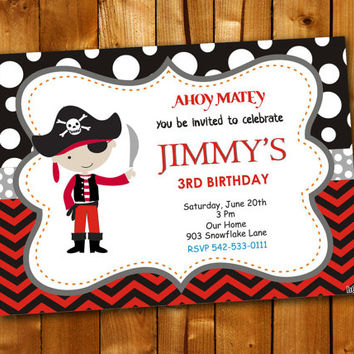 Pirate Chevron, Birthday Invitation, Birthday Party for little boy and little girl