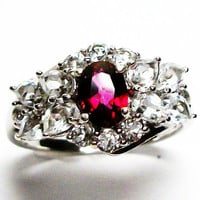 "Scarlet topaz and white topaz accent cocktail ring s 9  ""Cherry Vanilla"""