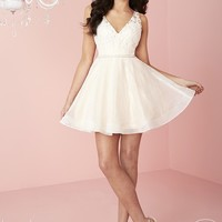 Hannah S 27113 Lace Sequin Net Short Dress
