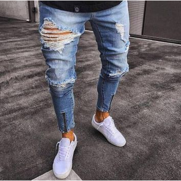 Stylish Denim Ripped Holes Stretch Pants [454561759261]