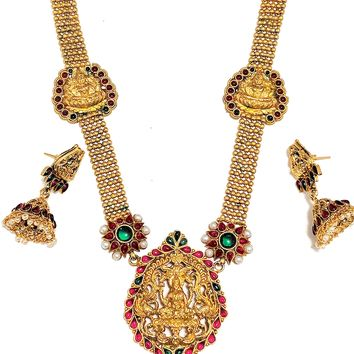 Traditional Goddess Lakshmi Long Chain Necklace and Earring set