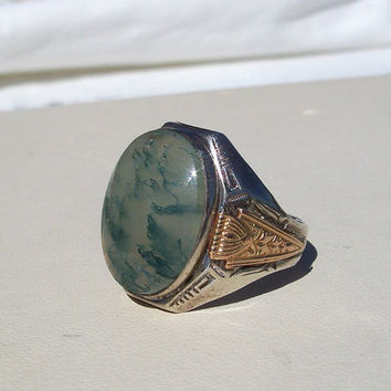 Vintage Art Deco Green Moss Agate Ring Sterling Gold Filled Uncas Size 8
