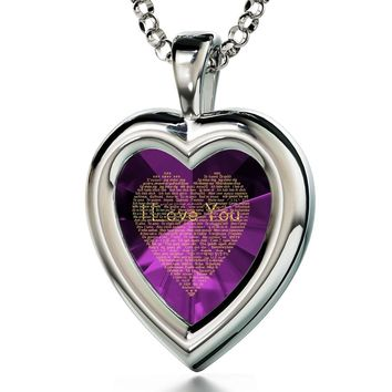 """""""I Love You"""" in 120 Languages, 925 Sterling Silver Necklace, Cubic Zirconia"""
